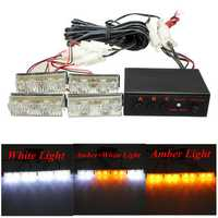 12V 2x4 Amber White LED Car Flashing Warning Emergency Strobe Light Lamp Bar