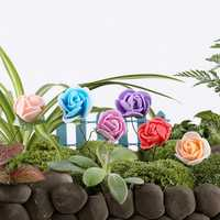 DIY Miniature Pretty Rose Ornaments Potted Plant Garden Decor