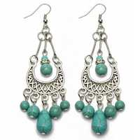 Vintage Tibetan Silver Turquoise Hollow Long Drop Dangle Earrings