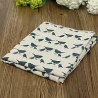 Birds Cotton Linen Cloth Curtain Pillowcase Handmade Fabric