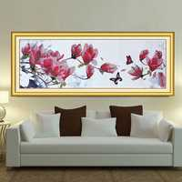 125*47cm DIY Needlework Magnolia Butterfly Cross Stitch Kit