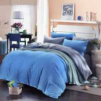 3 Or 4pcs Pure Cotton Sapphire Blue Grey Color Assorted Bedding Sets