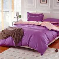 3 Or 4pcs Pure Cotton Purple Pink Color Assorted Plain Bedding Sets