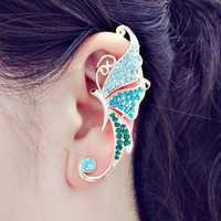 Rhinestone Crystal Butterfly Clip On Ear Cuff 16K Gold Plated