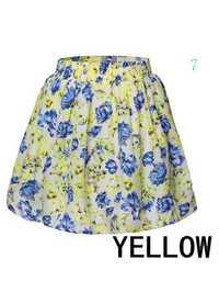 Women Elegant Summer Floral Printed Elastic Waist Chiffon Short Skirt