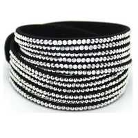 Multilayer Rhinestone Leather Wrap Bracelet Bangle For Women