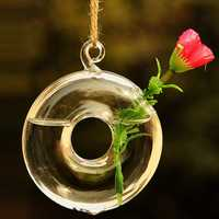 Round Hanging Flower Hydroponic Plants Glass Vase Home Decor