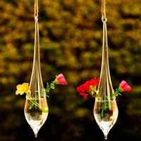 Honana HG-GH1 Water Drop Shape Hanging Glass Vase Hydroponic Plants Garden Flower Pot