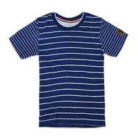2015 New Little Maven Blue White Stripe Baby Children Boy Cotton Short Sleeve T-shirt