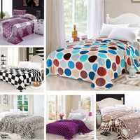Multi-functional 7 Styles Flannel Bedding Blanket Soft Warm Flat Quilt Full Size
