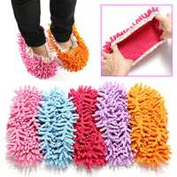 2Pcs Multifunction Chenille Cleaning Mop Shoes Mophead Overshoe Floor Dust Cleaning Slippers