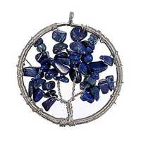 Vintage Gem Gravel Stone Tree Of Life Round Necklace Pendant