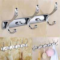Wall Door Bathroom Bedroom Kitchen Mounted Hanger Chrome Hook Coat Hat Towel Rack