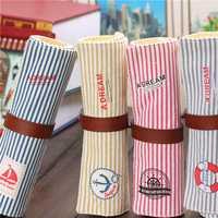 Retro Stripe Roll Wrap Canvas Pencil Case Bag Pen Makeup Cosmetic Pouch Pocket