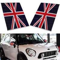 2Pcs Union Jack UK Flag Vinyl Mirrors Stickers For Mini Cooper