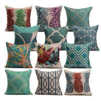 Linen Vintage Pineapple Ocean View Pillow Case Home Sofa Car Cushion Cover