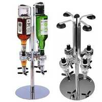 4 Heads Stainless Steel Bar Butler Rotary Wine Juice Cocktail Dispenser Holder