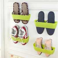 DIY Paste Three-Dimensional Super Glue Hanging-Shoe Shelf Rack Wall Bureau Storage Box