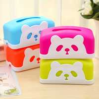 Square Colorful Cartoon Panda Tissue Holders Decorative Plastic Tissue Box
