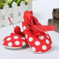 Newborn Girl Baby Infant Toddler Bow Dot Crib Pram Soft Sole Shoes