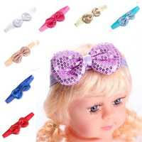 Kids Baby Girls Infant Bow Paillette Bowknot Elastic Headbrand Solid Hair Accessory Band