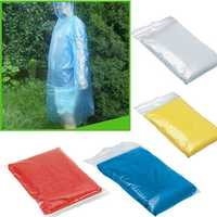 Disposable Plastic Rain Coat Travel Camping Rainwear Adult Emergency Waterproof Hood Poncho