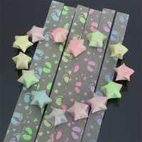 1 Pack 30 Strips Footprint Folding Children Lucky Wish Stars Origami Paper Ribbon Kit