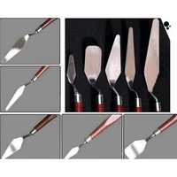 5pcs Wooden Painting Handle Paint Pallette Knives Spatula Stainless Steel Blade