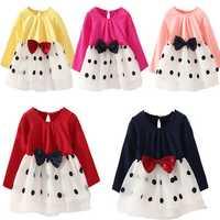 Fancy Baby Kids Clothes Girl Long Sleeve Dot Princess Tutu Dress Bow Skirt 1-4Y