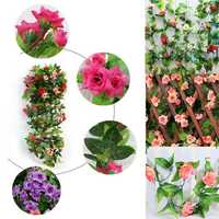 2pcs Artificial Plastic Rose Flower Vines Garland Home Garden Decoration