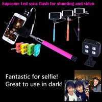 Portable 4 LED Enhancing Flash Fill Light For iPhone Universal Smartphone Selfie Stick