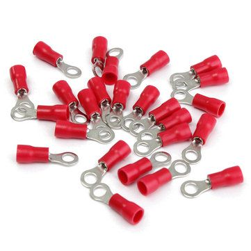 25pcs Red Rubber PVC Terminals Insulated Ring Connector RC 0.5 1.5mm²