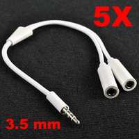 5X 3.5mm Jack Y Splitter Audio Headphone Stereo Adapter