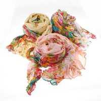 Fashion Women Thin Long Soft Flower Pattern Shawl Scarf Neck Wrap