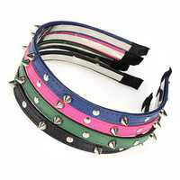 Fashion Punk Headbrand Bow Spike Rivets Studded Hair Band Unisex