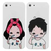 Cartoon Lovers Brush Teeth Pattern Relief Protective Case For iPhone 5