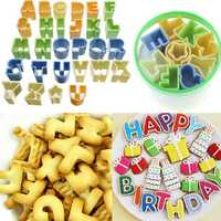 28Pcs Plastic Alphabet Letter Cake Biscuit Baking Mould Fondant Cookie Cutters
