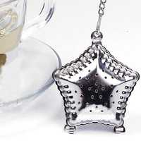 Stainless Steel Mesh Pentagram Spice Herbal Tea Leaf Infuser Strainer Filter