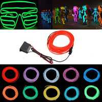 5M 12V Flexible Neon EL Wire Light Summer Dancing Party LED Strip Light