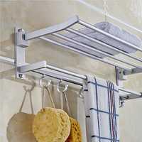 Alumimum Folded Silver Bath Towel Shelf Washcloth Rack Holder With 5 Hooks