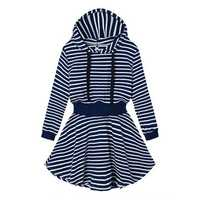 Women Plus Size Casual Stripe Hoodie Slim Dress