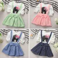 New Baby Kids Girl Cotton Long Sleeve Polka Dots Party Princess Dress