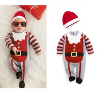 Baby Boys Girls Christmas Striped Romper Jumpsuit Hat Set