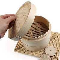 2 Tier Bamboo Steamer Dim Sum Basket Rice Pasta Cooker