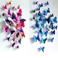 12Pcs 3D Butterfly Wall Sticker Fridge Magnet Home Decor Art Applique Decor Sticker