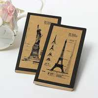 Retro Kraft Eiffel Tower Statue Of Liberty Notebook Diary Sketchbook