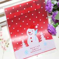 100pcs / Lot Lovely Christmas Snowman Cookie Bag Packing Bag