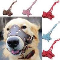 Adjustable Pet Leather Muzzle No-Bite Dog Mouth Mask