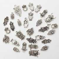 30pcs Mixed Vintage Tibetan Silver Owl Necklace Pendant Charm DIY