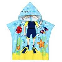Baby Boys Polyester Fiber Bathroom Robes Towels Shower Cartoon Hooded Soft Washcloth Blankets Beach Children